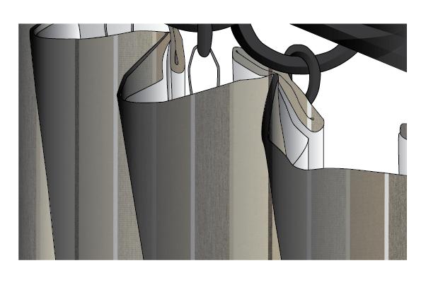 Sunbrella Canvas Stripe Inverted Box Pleat Outdoor Drape