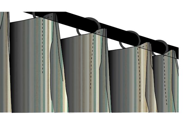 Sunbrella Canvas Striope Outdoor Euro Pleat Drapery Panels