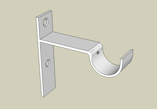 Strap Bracket showing a 3/4 view from the top