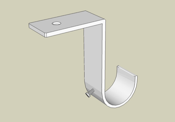 Ceiling bracket offset showing back view