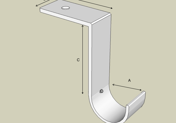 Ceiling bracket custom made showing dimensions